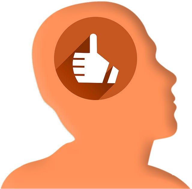 Positiv denken - Menschenkopf mit Daumen hoch